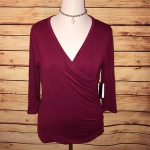 🆕 Grace Burgundy Stretchy Wrap Top